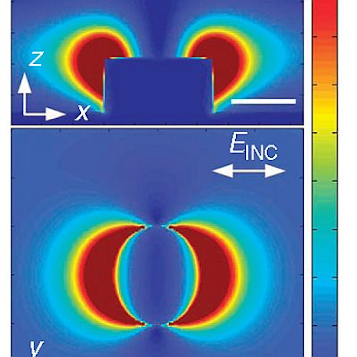 Calculated electric field intensity around a gold pillar in plasmonic nanotweezers developed at the Harvard School of Engineering and Applied Sciences