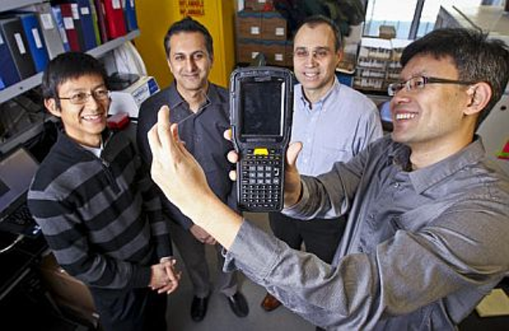 Lu Chen, Ph.D., Rakesh Nayyar, Lino DeFacendis, and James Dou have created a portable cytometer that works like a diabetes test