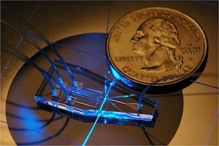 An assembled flow cytometry chip with size comparable to a U.S. quarter
