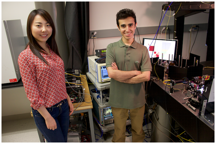 Former UCLA doctoral student Claire Lifan Chen and Ata Mahjoubfar, a current UCLA postdoctoral researcher.
