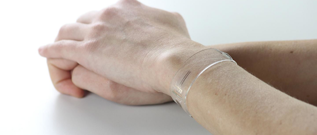 Flexible and transparent bracelet that uses graphene to measure heart rate, respiration rate, and blood pulse oxygenation continuously.