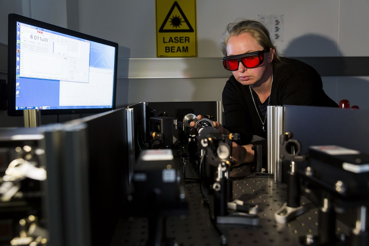 Dr. Clare Manderson with the laser incubation technology.
